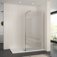 900mm Walk in Shower Screen Panel 8mm Easy Clean Wetroom Shower Enclosure 300mm Flipper Panel + 1600x760mm Shower Tray Waste - Elegant