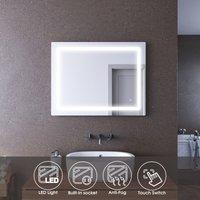 LED Bathroom Mirror with Shaver Socket Anti Fog Mirror 900 x 700 Wall Mounted Touch Light Bathroom Mirror - Elegant
