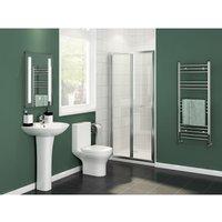 900x800mm Bifold Shower Enclosure Reversible Folding Glass Shower Cubicle Door with Shower Tray Set - Elegant