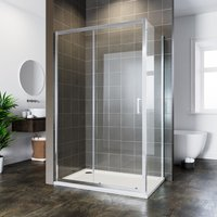 ELEGANT Bathroom Rectangular Cubicle Sliding Shower Enclosure Reversible 6mm Screen Door 1100x760mm with Side Panel