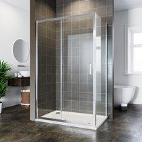 Bathroom Sliding Shower Enclosure Cubicle 6mm Glass Screen Bath 1000x700mm Reversible Shower Door with Side Panel - Elegant
