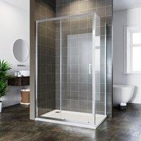 ELEGANT Bathroom Sliding Shower Enclosure Cubicle 6mm Glass Screen Baths Reversible Shower Door with Side Panel 1200x700mm
