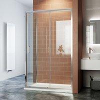 Bathroom Sliding Shower Enclosure Cubicle 6mm Glass Screen Baths Reversible Shower Door with Side Panel 1200x760mm - Elegant