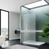 ELEGANT Bathroom Walkin Shower Door Wet Room Enclosure Screen 8mm Easy Clean Safety Glass Bath Panel Full Frosted,1100mm,Chrome Support Bar