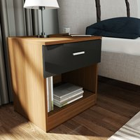 Bedside Cabinet Night Stand Storage Shelf with Bin Drawer, for Bedroom or Home Storage Organizer High Gloss, Black/Walnut - Elegant