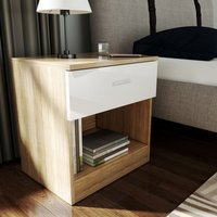 Bedside Cabinet Night Stand Storage Shelf with Bin Drawer, for Bedroom or Home Storage Organizer High Gloss, White/Oak - Elegant