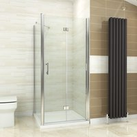 ELEGANT Bifold Shower Enclosure Glass Shower Door Reversible Folding Cubicle + Side Panel 760 x 900 mm with Tray