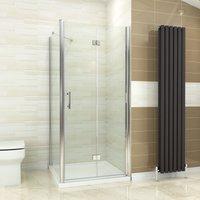 ELEGANT Bifold Shower Enclosure Glass Shower Door Reversible Folding Cubicle + Side Panel 900 x 700 mm