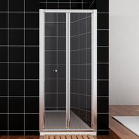 Bifold Shower Enclosure Reversible Folding Glass Shower Cubicle Door 800mm with Tray - Elegant