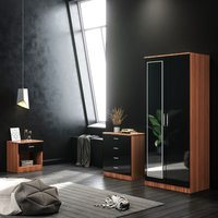 ELEGANT Black/Walnut Modern High Gloss Wardrobe and Cabinet Furniture Set Bedroom 2 Doors Wardrobe with Mirror and 4 Drawer Chest and Bedside Cabinet