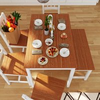 ELEGANT Dining Table + 4 Chairs with 2 Seats Bench, Nature Honey Kitchen/Living Room Furniture, Solid Pine Wood Dining Room set with 1 Wooden Bench