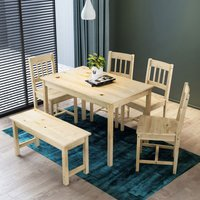 ELEGANT Dining Table and 4 Chairs Kitchen/Living Room Furniture, Solid Pine Wood Dining Room set Nature, with 1 Wooden Bench