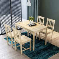 ELEGANT Dining Table and 4 Chairs Kitchen/Living Room Furniture, Solid Pine Wood Dining Room set Nature