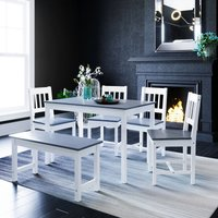 ELEGANT Dining Table and 4 Chairs Nature Kitchen Living Room Furniture, Solid Pine Wood Dining Room set Grey with 2 Seats Bench