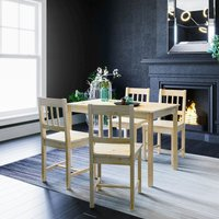 Dining Table and 4 Chairs Nature Kitchen Living Room Furniture, Solid Pine Wood Dining Room set Nature - Elegant