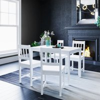 ELEGANT Dining Table and 4 Chairs Nature Kitchen Living Room Furniture, Solid Pine Wood Dining Room set White