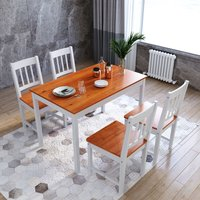 ELEGANT Dining Table and 4 Chairs Solid Pine Nature Kitchen Living Room Furniture Wood Dining Room Set Honey
