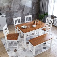 ELEGANT Dining Table and 4 Chairs Solid Pine Nature Kitchen Living Room Furniture Wood Dining Room Set Honey with 1 Wooden Bench