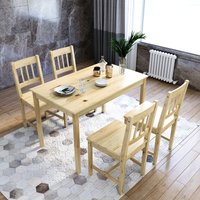 ELEGANT Dining Table and 4 Chairs Solid Pine Nature Kitchen Living Room Furniture Wood Dining Room Set Natural