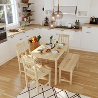 ELEGANT Dining Table and 4 Chairs with 2 Seats Bench, Kitchen/Living Room Furniture, Solid Pine Wood Dining Room set with 1 Wooden Bench Nature