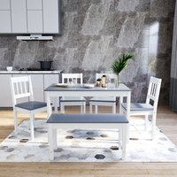 Dining Table and 4 Chairs with 2 Seats Bench, Nature Grey Kitchen/Living Room Furniture, Solid Pine Wood Dining Room Set - Elegant