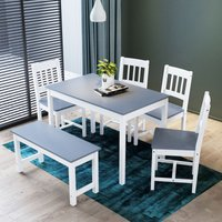 Dining Table and 4 Chairs with 2 Seats Bench, Nature Grey Kitchen/Living Room Furniture, Solid Pine Wood Dining Room set with 1 Wooden Bench - Elegant