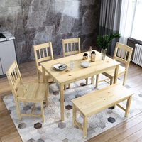 ELEGANT Dining Table and 4 Chairs with 2 Seats Bench, Nature Kitchen/Living Room Furniture, Solid Pine Wood Dining Room Set