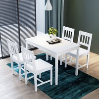 ELEGANT Dining Table with 4 Chairs, 4 seats Solid Pine Wood Dining Room Set, Nature White Living Room/Kitchen Furniture