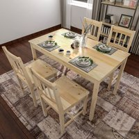 Dining Table with 4 Chairs Dining Room Set of 4 Seats, Nature Solid Pine Wood Living Room Kitchen Furniture - Elegant