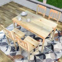 ELEGANT Dining Table with 4 Chairs, Solid Pine Wood Dining Room Set , Nature Living Room/Kitchen Furniture