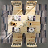 Dining Table with 4 Chairs, Solid Pine Wood Dining Room Set, Nature Living Room Kitchen Furniture Natural - Elegant