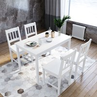 Dining Table with 4 Chairs, Solid Pine Wood Dining Room Set Nature White Living Room/Kitchen Furniture - Elegant