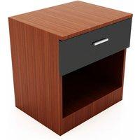 High Gloss Bedside Cabinet Night Stand Storage Shelf with Bin Drawer, for Bedroom or Home Storage Organizer, Black/Walnut - Elegant