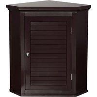 Elegant Home Fashions Bathroom Cupboard Brown Wooden Wall Corner Cabinet ELG-597