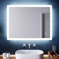 Horizontal Vertical LED Illuminated Bathroom Mirror 900 x 700 mm Mirror Light Touch Sensor + Demister - Elegant