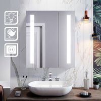 Illuminated Bathroom Mirror Cabinet with Light + Shaver Socket Wall Mounted LED Mirror with Shelf 600mm - Elegant