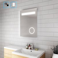 Illuminated LED Bathroom Mirror with Lights and Shaver Socket magnifying Mirror 500 x 700 mm Button Switch - Elegant