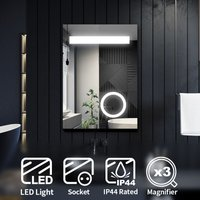 Illuminated LED Bathroom Mirror with Lights with Magnifying Mirror 500 x 700 mm + Shaver Socket - Elegant