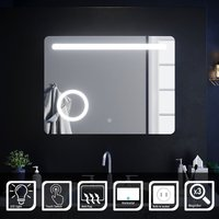 Illuminated LED Bathroom Mirror with Lights with Magnifying Mirror 800 x 600mm Anti-foggy - Elegant