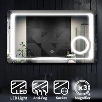 ELEGANT Illuminated LED Bathroom Mirror with Lights with Magnifying Mirror 1000 x 600mm Anti-foggy + Shaver Socket