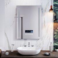 Illuminated LED Light Bathroom Mirror Touch control   Anti-Fog   Clock Function   Bluetooth Audio   Shaver Socket   600x800mm - Elegant