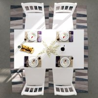ELEGANT Kitchen Furniture Wooden Dinning Table and 4 Chairs Nature Solid Pine Wood 5 Pieces Rectangular Kitchen Living Room Set, White
