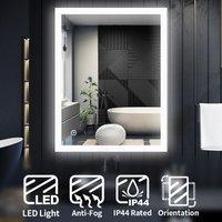 LED Illuminated Bathroom Mirror Light Touch Sensor 900 x 700 mm + Demister - Elegant