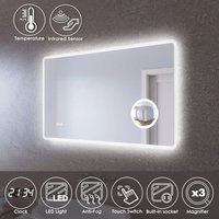 LED Illuminated Bathroom Mirror with Infrared Sensor 1000 x 600mm with 3 Times Magnifying Glass Shaving Socket Clock Display Anti-foggy Led Mirror
