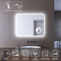 ELEGANT LED Illuminated Bathroom Mirror with Infrared Sensor 900 x 700mm with 3 Times Magnifying Glass Shaving Socket Clock Display Anti-foggy Led