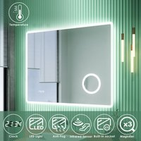 LED Illuminated Bathroom Mirror with Infrared Sensor with 3 Times Magnifying Glass Shaving Socket Clock Display Anti-foggy Led Mirror 900 x 700mm