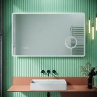 LED Illuminated Bathroom Mirror with Infrared Sensor with 3 Times Magnifying Glass Shaving Socket Clock Display Anti-foggy Led Mirror 1000 x 600mm