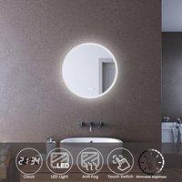 LED Illuminated Bathroom Mirror with Light 600 x 600mm Clock Display Mirror - Elegant