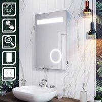 LED Illuminated Bathroom Mirror with Light 500 x 700 mm Button Switch + Shaver Socket + Magnifying - Elegant