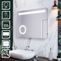 ELEGANT LED Illuminated Bathroom Mirror with Light 800 x 600 mm Sensor + Demister + Magnifying